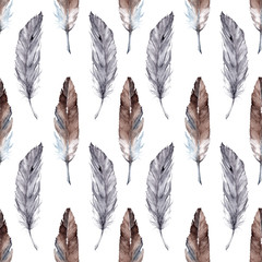 Watercolor feathers vector seamless pattern background
