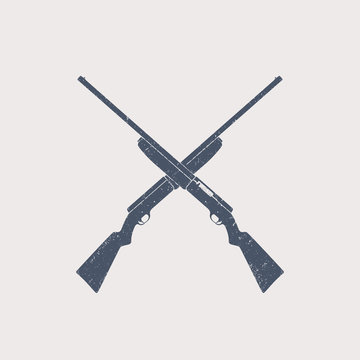 crossed hunting rifles, shotguns, with grunge texture, vector illustration, eps10
