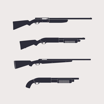 Hunting rifles, shotguns, carbine, isolated, vector illustration, eps10, easy to edit