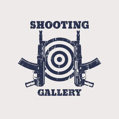 Shooting Gallery Grunge emblem with automatic rifle, gun, vector, eps10
