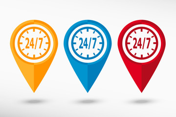 Around the clock map pointer, vector illustration. Flat design style