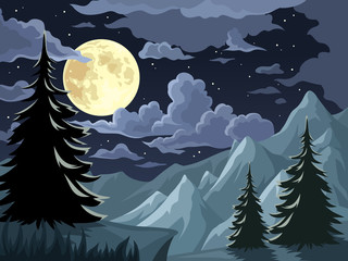 Night landscape with trees, mountains and full moon. Vector.
