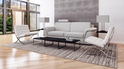 Soggiorno con tappeto e divano