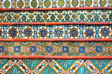 Colorful Spanish tiles decoration on stairway