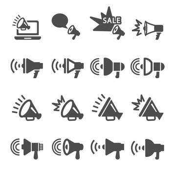 megaphone in action icon set, vector eps10
