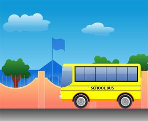 School bus at the school vector image