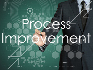 businessman handwriting Process Improvement on a transparent board