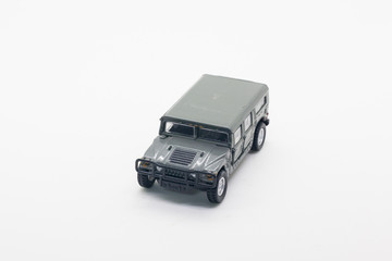 military vehicle toy isolate on white background