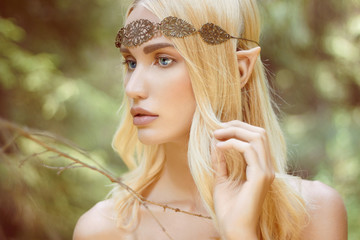 fantasy beautiful elf girl in woods Wall mural