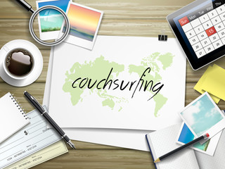 couchsurfing word written on paper