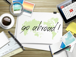 go abroad written on paper