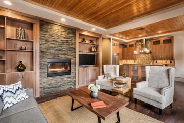 Beautiful living room with hardwood floors, wood strip tray ceil