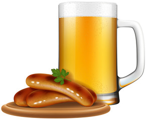 Beer mug with Oktoberfest style sausages on a wooden plate.