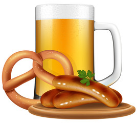 Oktoberfest style beer mug, pretzel and sausages.