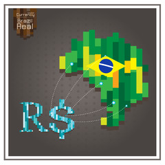 Currency Real Business Brazil money Spending dotted lines on the map gray background