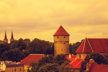 Wall Mural - Tallinn, Vanalinn, old city at sunset, Estonia, Europe