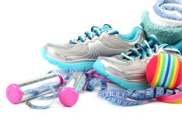 Sport shoes, equipment and measuring tape.