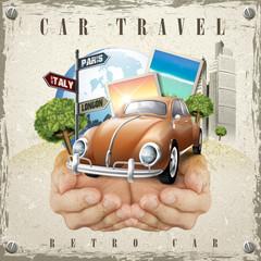vivid car travel poster design