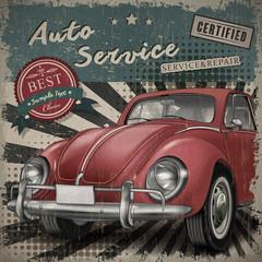 veteran classic small red car