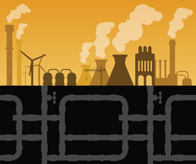 Factory industry with manufactory and pipes vector