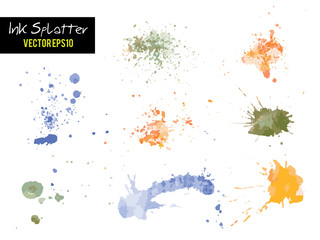 Colorful Watercolor or Ink blots splashes vector Fototapete