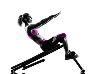 Fototapete - woman fitness  bench press crunches exercises