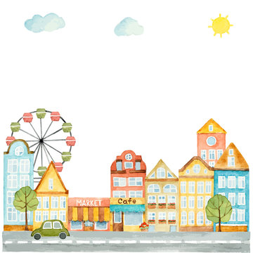 Watercolor elements of urban design, houses, cars.