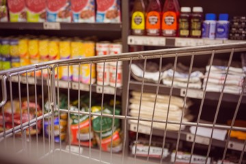 Trolley with product on shelf