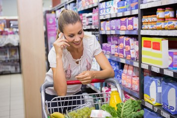Woman buy products and calling