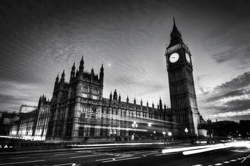 Wall Mural - Red bus, Big Ben and Westminster Palace in London, the UK. at night. Black and white