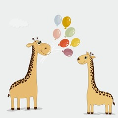 Cute cartoon giraffes with colorful balloons
