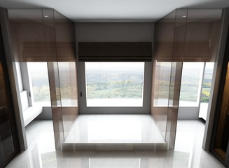 3D render of empty room interior