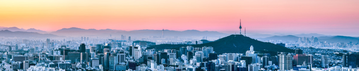Aluminium Prints Seoul Seoul Panorama im Winter