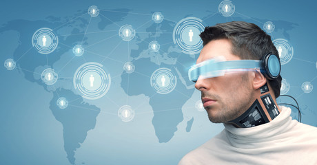 man with futuristic glasses and sensors