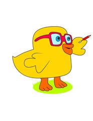 gözlük takan akıllı ördek yavrusu çizimi