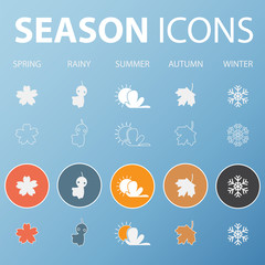 Set of season icons in flat design outline and long shadow .  Vector  Illustration