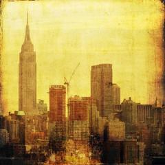 Vintage skyline in yellow tones