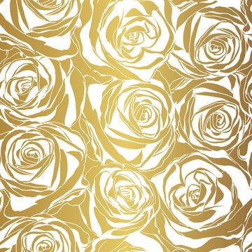 Elegant white rose pattern on gold background.