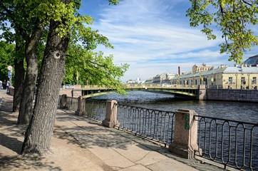The Fontanka river and The Pantelymonovsky bridge in St.Petersburg