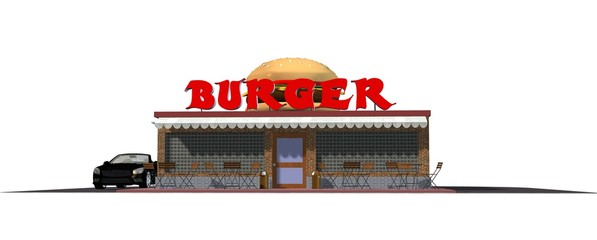 3d fast food Burger restaurant building isolated
