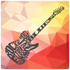 Music genres written in shape of electric guitar on modern triangles background