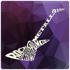 Electric guitar with heavy music genres on modern triangles background