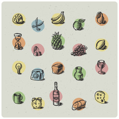 Vector set of hand drawn graphic icons