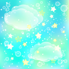 Magic background with clouds and stars