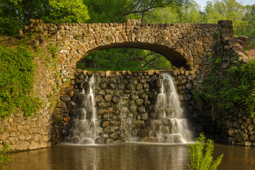 Stone Bridge and Waterfall in Reynolda Gardens