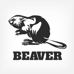 Beaver. Vector black illustration