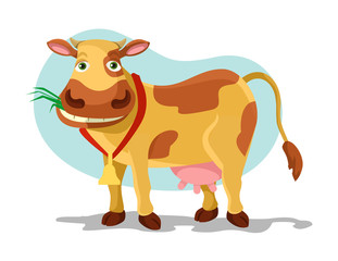 Cow vector flat cartoon illustration
