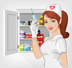 Vector nurse with medicine flat illustration