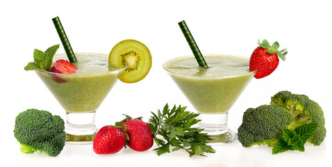 Healthy Green Smoothie with Fresh Fruit and Vegatables Isolated