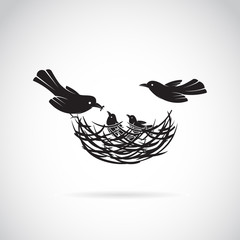 Vector image of an birds family in love on white background.